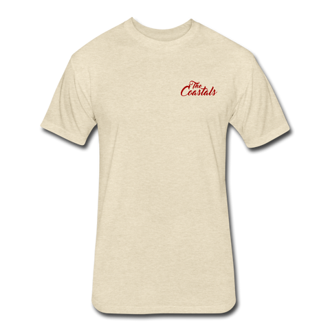 Heather Cream Fitted Coastals OG T-Shirt Red Writing - heather cream