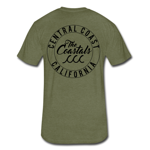 Military Green Fitted Coastals OG T-Shirt Black Writing - heather military green