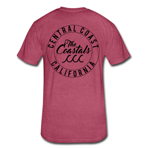 Heather Burgundy Fitted Coastals OG T-Shirt Black Writing - heather burgundy