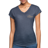 Navy Heather Women's V-Neck T-Shirt with Tan Writing - navy heather