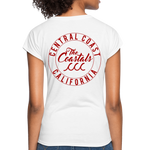 White Women's V-Neck T-Shirt with Red Writing - white