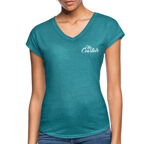 Heather Turquoise V-Neck T-Shirt with White Writing - heather turquoise