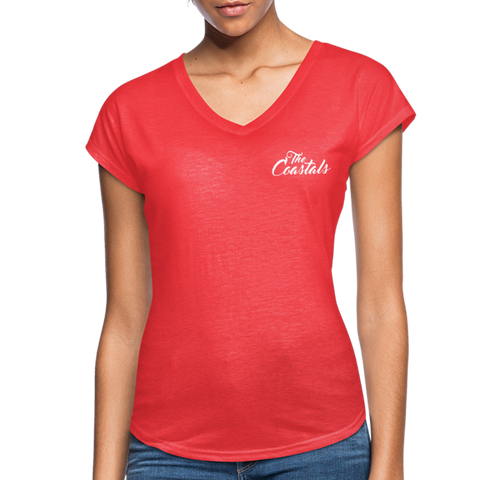Heather Red Women's V-Neck T-Shirt with White Writing - heather red