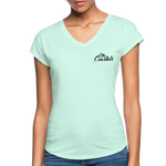 Coral Women's V-Neck T-Shirt with Black Writing - mint