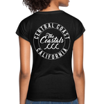 Black Women's V-Neck T-Shirt with White Writing - black