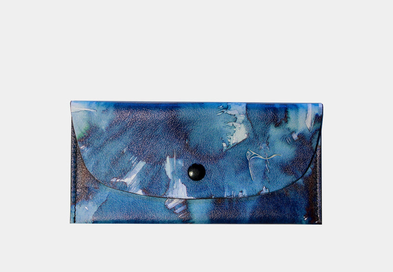 Leather coin purse blue