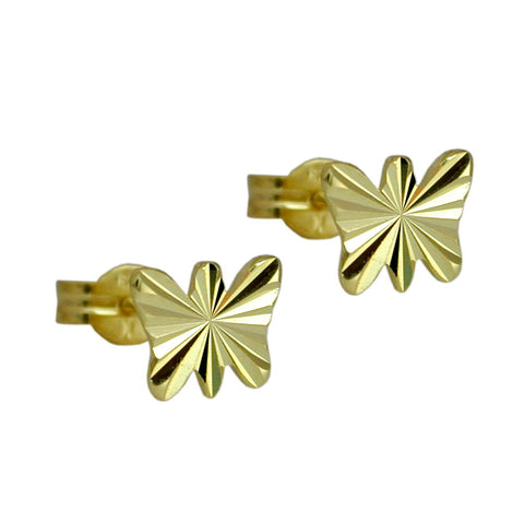Stecker 7x6mm Schmetterling diamantiert 8Kt GOLD