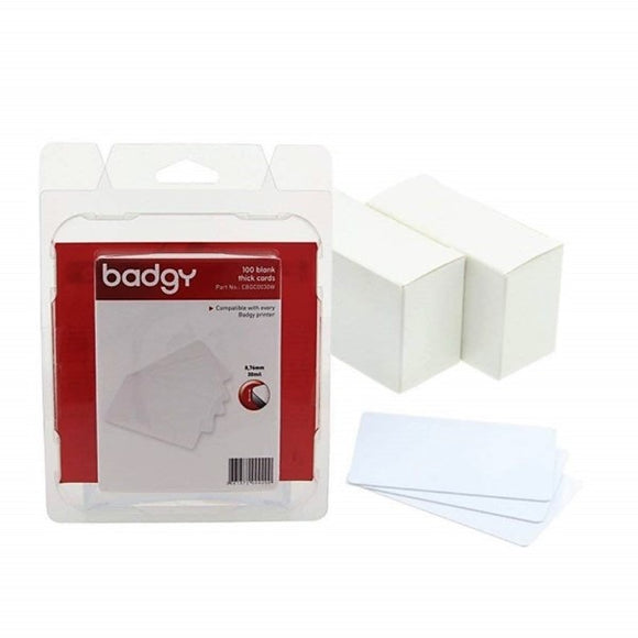 Evolis  PVC BLANK CARDS - WHITE - 30MIL - 0.76MM - 1 Pack of 100 Cards