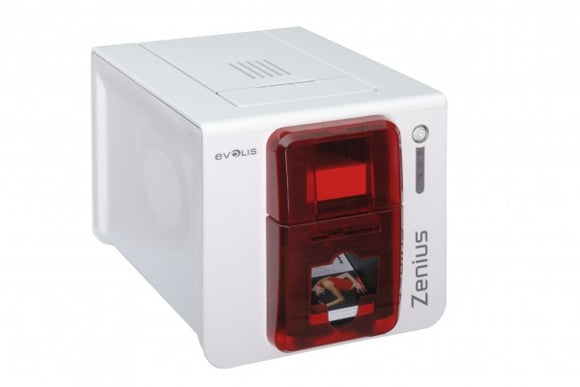 Evolis  Zenius Classic Fire Red Printer Without Option, USB Only, with Cardpresso XXS Lite Software Licence