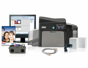 HID  HDP5000 Single-Sided Printer with Asure ID Express Photo ID Software, High-end USB Digital Web Camera, YMCK Print Ribbon, HDP Film, UltraCard Premium Cards  500 Count, USB Printer Cable and 1-year Asure ID Technical Support.
