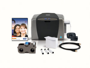 HID  DTC1250e Single-Sided Printer with AsureID Solo Software, USB Digital Camera, EZ - Full-color Ribbon Cartridge (250 Images), 100 UltraCardTM PVC Cards, 1 Pack of Cleaning Rollers (3 Per Pack), USB Cable and 2 Year Asure ID Protect Plan.