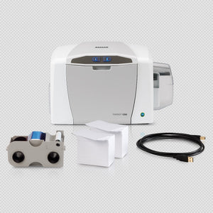 HID  EXPRESS:  C50 Single-sided Printer with USB Cable, AsureID Express Software, USB Digital Camera, 2 - EZ - Full-color Ribbon Cartridges (100 Images/each), 200 UltraCardTM PVC Cards and 2 Year Asure ID Protect Plan.
