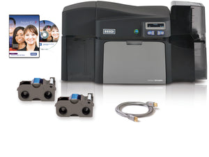 HID  Fargo Photo ID System: DTC4250e Dual-Sided Printer with AsureID Express Software, USB Cable, AsureID Express Software, High-End USB Digital Camera, EZ - Full-color Ribbon Cartridge (250 Images), 300 UltraCardTM PVC Cards, 1 Pack of Cleaning Rollers