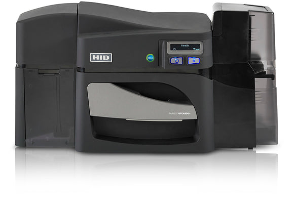 HID  DTC4500e Single-Sided Printer with Same-Side Hopper, USB and Ethernet  Printer with Three Year Printer Warranty - WITHOUT Locking Hoppers + Integrated HID Prox, ICLASS, MIFARE/DESFire, and Contact Smart Card Encoder (Omnikey Cardman 5121 and 5125)