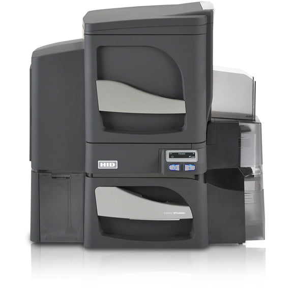 HID  DTC4500e Dual-Sided Printer with Single-Side Lamination, Dual-Input Card Hopper,  USB and Ethernet  Printer with Three Year Printer Warranty - WITH Locking Hoppers