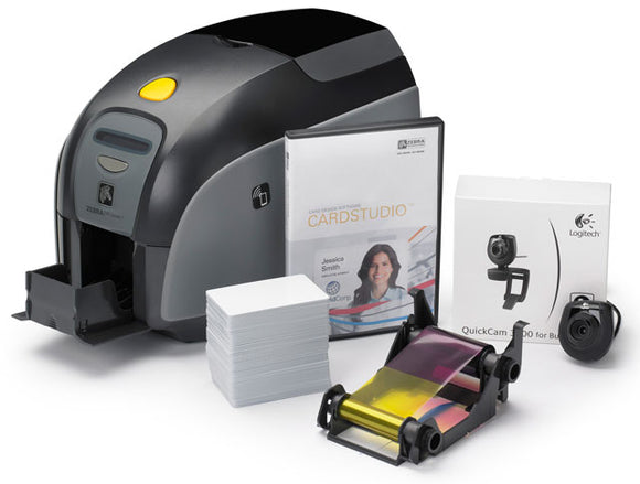 Zebra QuikCard ID Solution with ZXP Series 3 single-sided card printer USB with Magnetic encoder, CardStudio software, webcam, and Media starter kit (200 cards, 1 YMCKO color ribbon)