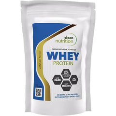 A bag of Clean Nutrition Whey Protein powder