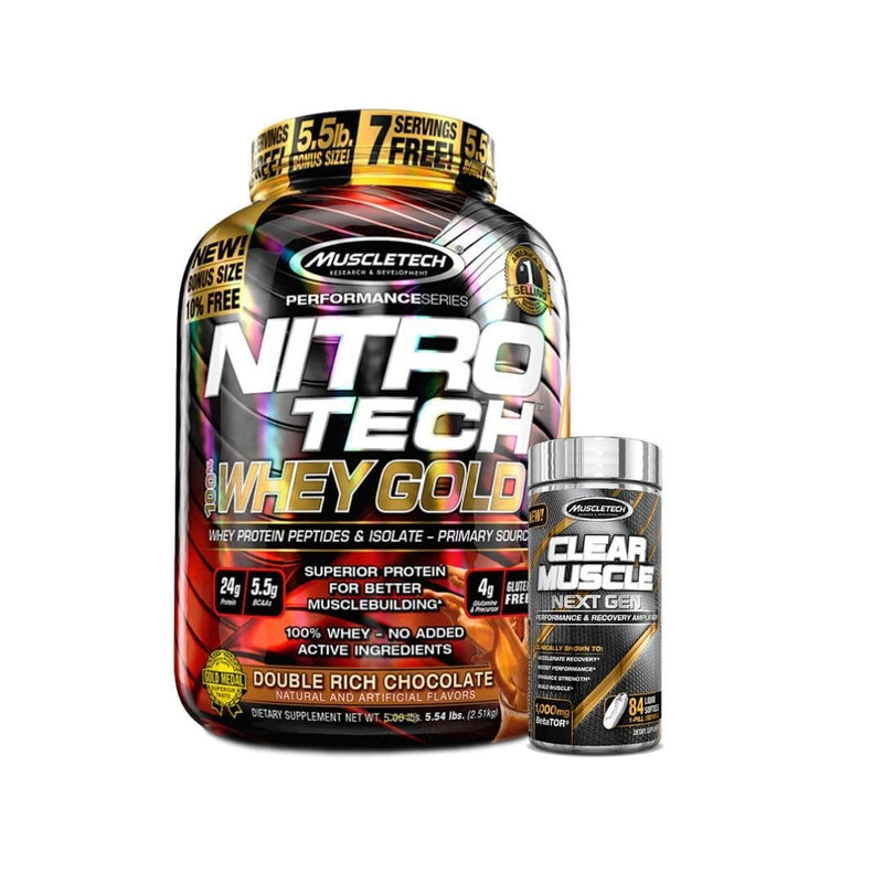 Muscletech Whey Gold 5.5lb + Clear Muscle Combo