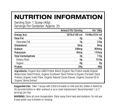 Nutrition Facts For 1UP Natural Vegan Protein