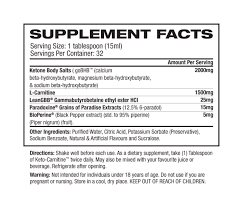 Nutrition Facts For 1UP Nutrition Keto Carnitine