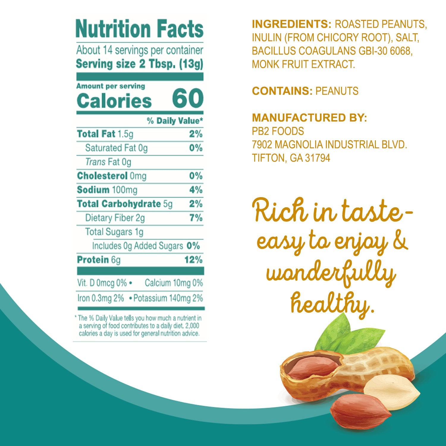 Nutrition Facts For PB2 Powdered Peanut Butter with Pre + Probiotic