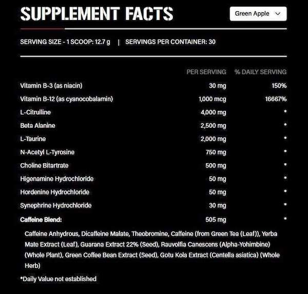 Nutrition Facts For 5% Nutrition 5150 High Stim Pre-Workout