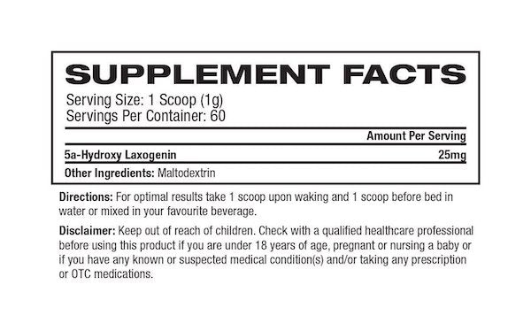 Nutrition Facts For Platinum Labs Laxogenin 60 Serve