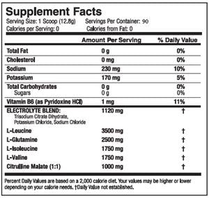 Nutrition Facts For SciVation Xtend 90 Servings