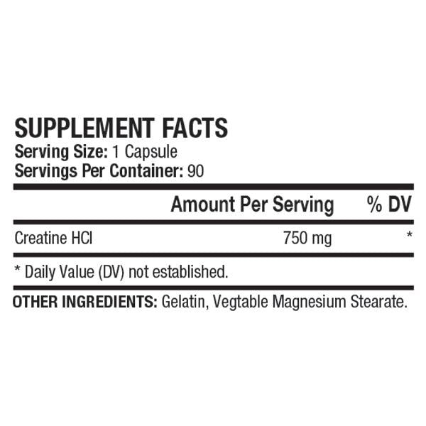 Nutrition Facts For ANS Performance Creatine HCL 90 Caps
