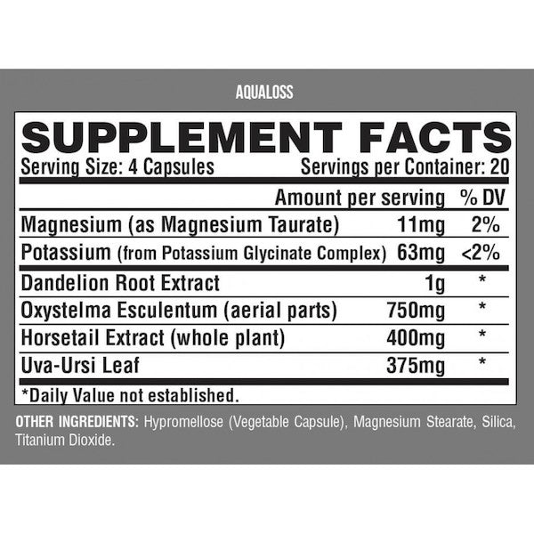 Nutrition Facts For Nutrex Aqualoss