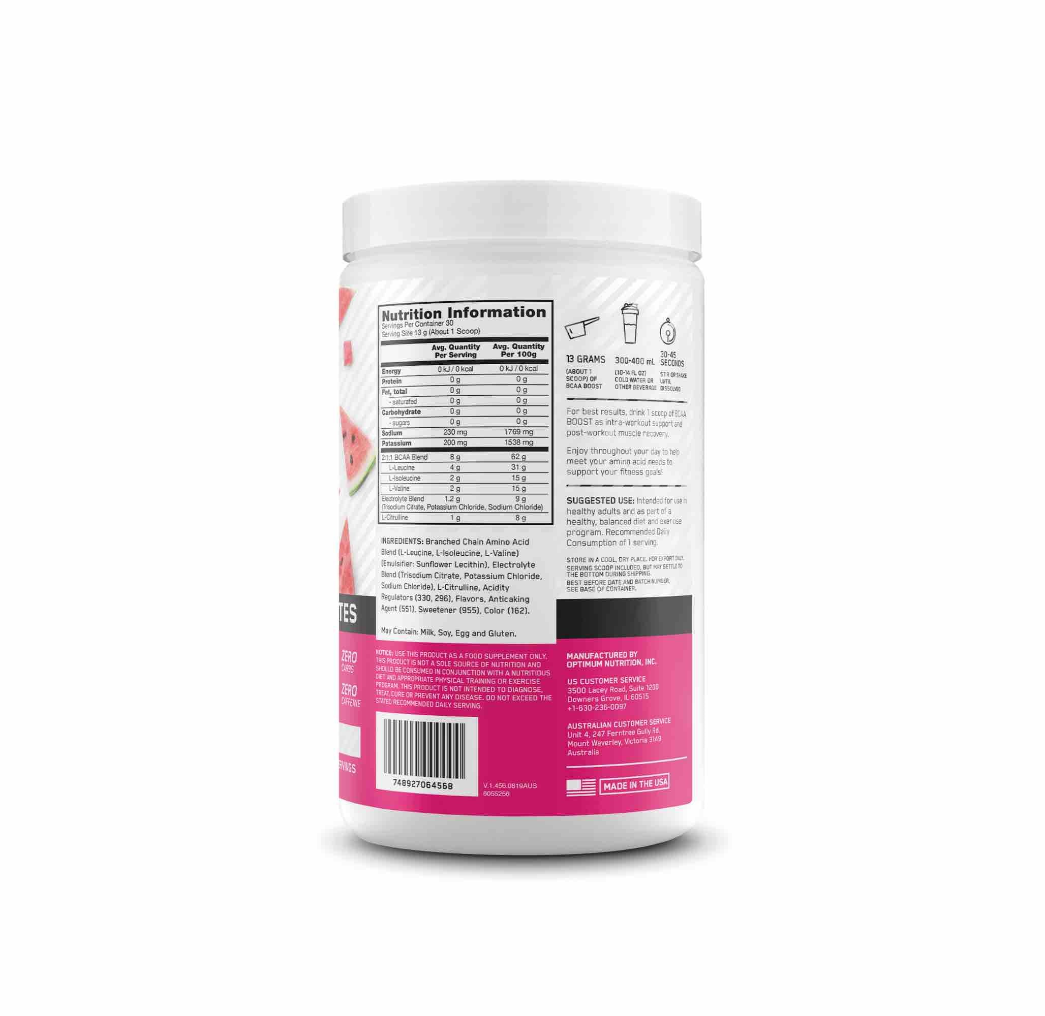 Nutrition Facts For Optimum Nutrition BCAA Boost