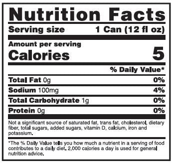 Nutrition Facts For Optimum Amino Energy Sparkling Rtd 6 Pack