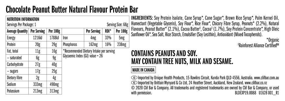 Nutrition Facts For Clif Builders Bars 12 Box