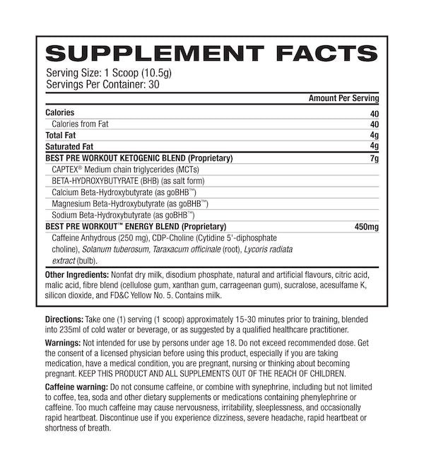 Nutrition Facts For BPI Keto Best Pre Workout 30 Serve