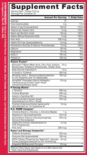 Nutrition Facts For BSN No Xplode Edge 30 Serve