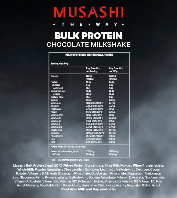 Nutrition Facts For Musashi Bulk Protein 2kg