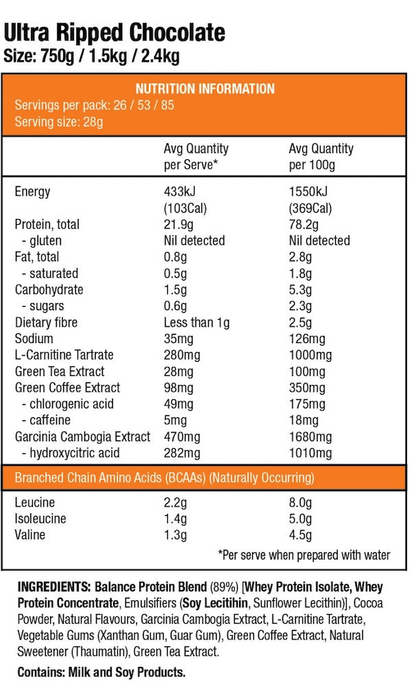 Nutrition Facts For Balance Naturals Ultra Ripped Protein 2.8kg