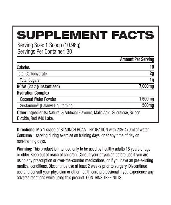 Nutrition Facts For Staunch BCAA Hydration 30 Serve