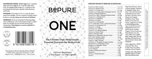 Nutrition Facts For BePure One Multivitamin 150 Caps