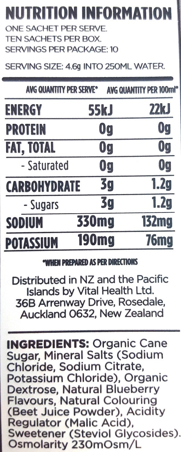 Nutrition Facts For SOS Drink Mix 10 serves