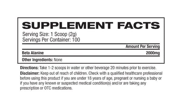 Nutrition Facts For Platinum Labs Beta Alanine