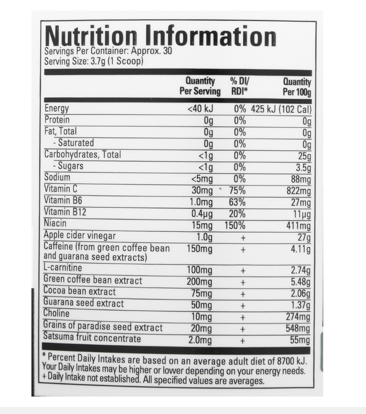Nutrition Facts For Sixstar Burn Booster Thermogenic Powder