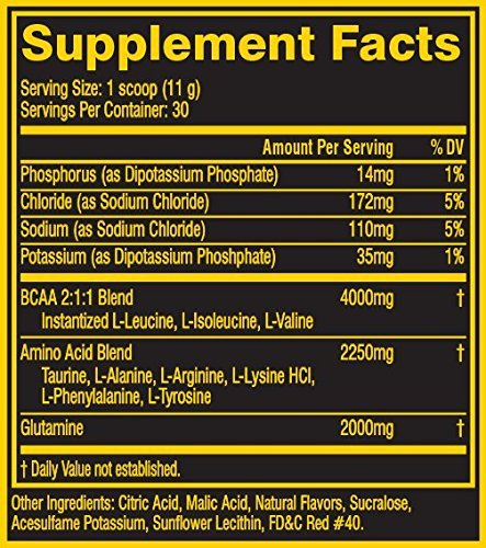 Nutrition Facts For Cellucor BCAA Sport 30 Serve