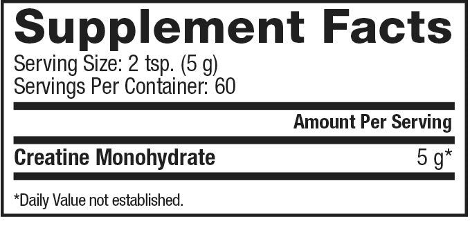 Nutrition Facts For Dymatize Creatine 300g