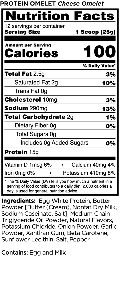 Nutrition Facts For Rule 1 Easy Protein Omelet