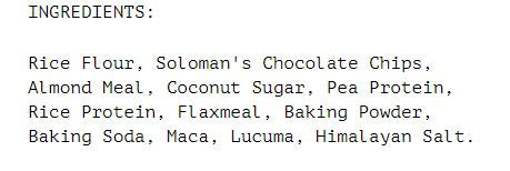 Nutrition Facts For Alkeme Wholefoods Baking Mix