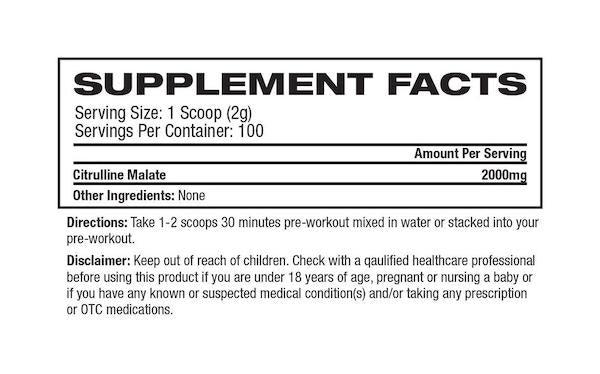 Nutrition Facts For Platinum Labs Citrulline Malate 100 Serve