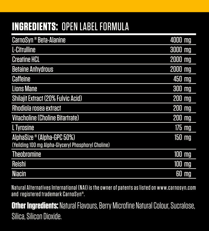 Nutrition Facts For Victory Labs Doom Pre-Workout