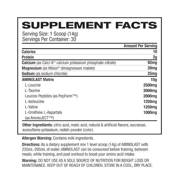 Nutrition Facts For Gaspari Aminolast 30 Serves