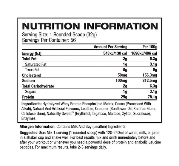 Nutrition Facts For Gaspari Precision Protein 900g